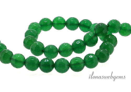Green Onyx beads faceted around 8mm