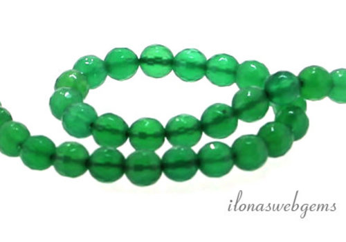 Groene Onyx kralen facet rond ca. 6mm