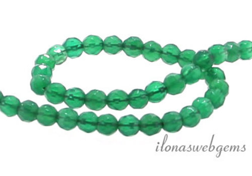 Green Onyx beads faceted around 4 mm
