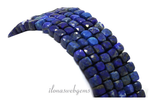 Lapis Lazuli faceted cube beads around 4x4x4mm