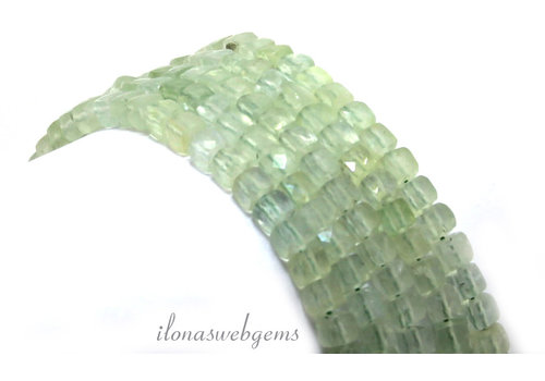Prehnite faceted cube beads around 4x4x4mm