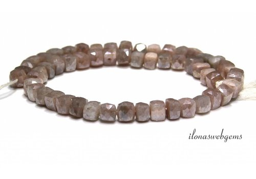 Mystic Moonstone beads faceted cube around 7-5mm