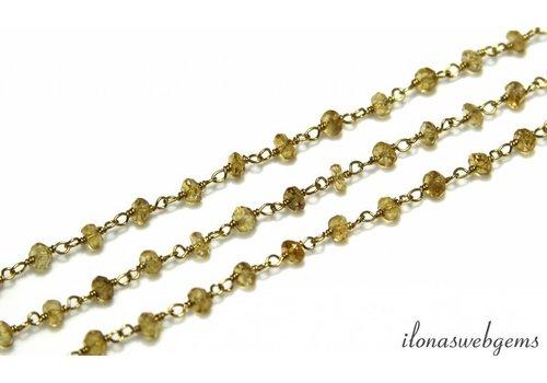 20 cm Vermeil-Halskette mit Citrinperlen