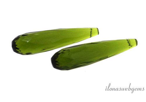 """1 stuk """"olive green""""facet pegel ca. 30x8mm"""