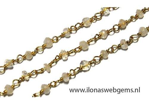 6cm Vermeil necklace with beads Rainbow moonstone