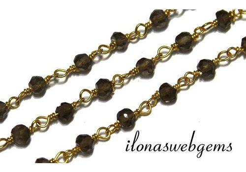 20 cm vermeil necklace with beads Smoky quartz