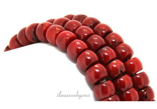 """Bloedkoraal kralen rood""""oud Hollands"""" ca. 11x8mm"""