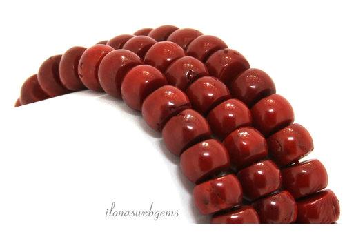 """Bloedkoraal kralen rood""""oud Hollands"""" ca. 10x8mm"""