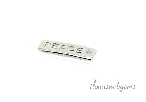 17 stuks sterling zilveren bedeltje 'PEACE' ca. 14x5mm