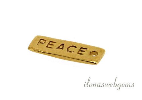 18 stuks Vermeil bedeltje 'PEACE' ca. 14x5mm