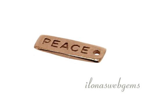 16 stuks bedeltje 'PEACE' ca. 14x5mm