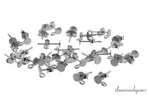 1 paar oorknopjes Zilver oogje open met pousettes ca. 7x4x11mm