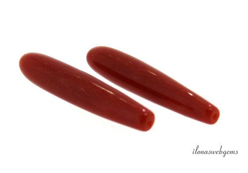 Bloedkoraal pegeltjes 'Corallium Rubrum' ca. 17x3.5mm