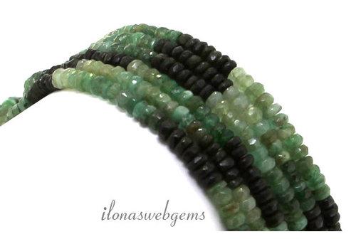 Smaragd kralen facet rondel op- en aflopend van ca. 4x2 tot 6x3mm