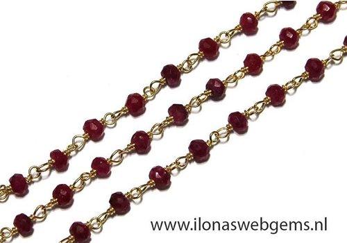 6cm Vermeil Halskette mit Perlen Rubin