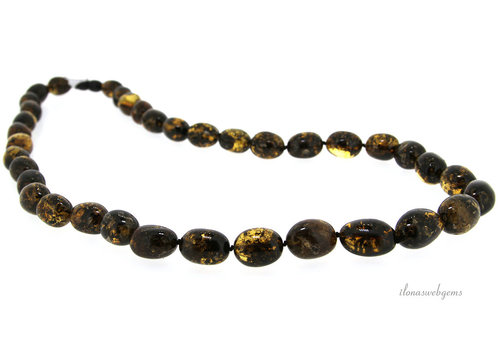 Amber chain ascending and descending from approximately 14x11 to 17.5x13mm