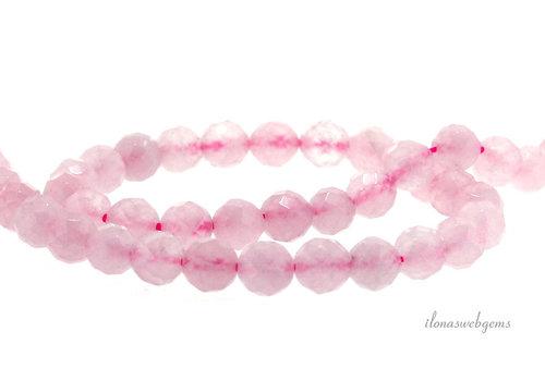 Rose quartz beads around faceted around 6mm