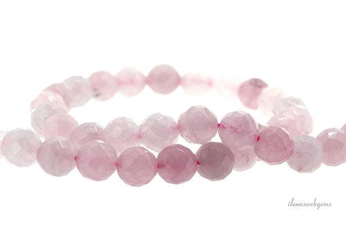 Rose quartz beads round faceted 8mm