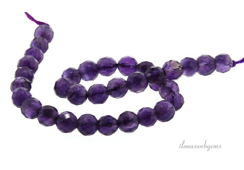 Amethyst beads large faceted around 6mm A quality