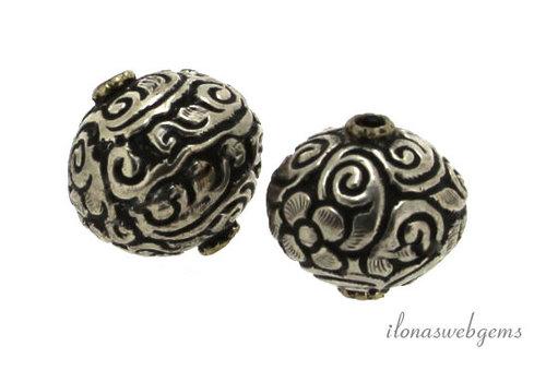 Tibetaans zilveren repousse kraal ca. 20mm