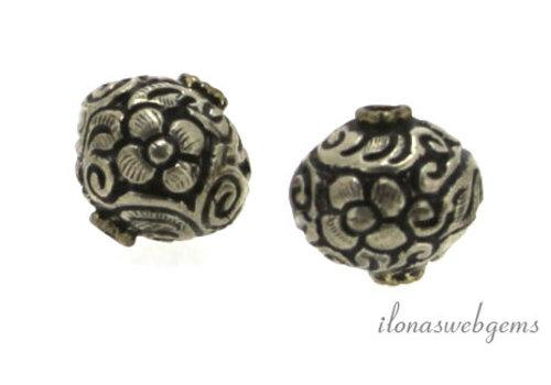 Tibetaans zilveren repousse kraal ca. 17mm