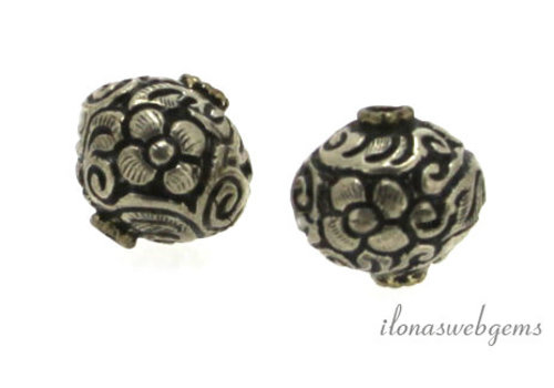Tibetan silver repousse bead around 17 mm
