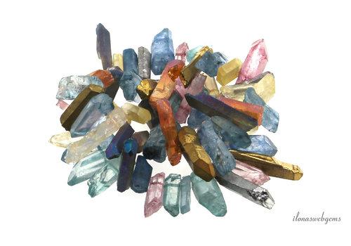 Bergkristal obelisken mix ca. 27x7x5mm