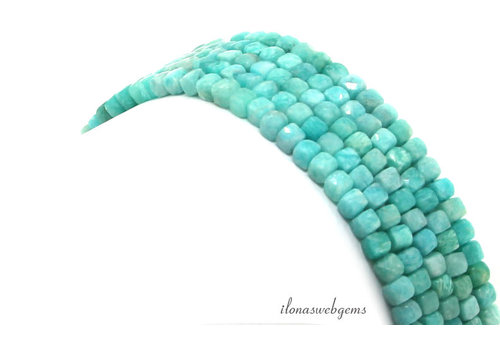 Russian Amazonite faceted cube beads around 4mm