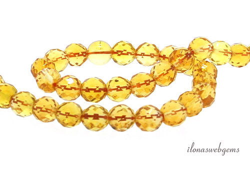 Citrine beads faceted around ca. 6.5mm