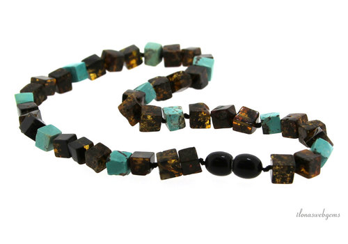 Amber / Amber necklace with Turquoise around 6.5x6mm