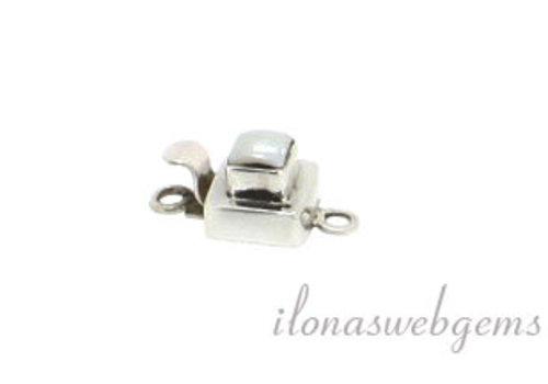 Sterling zilveren bakslotje met Parel ca. 9.5x9.5mm
