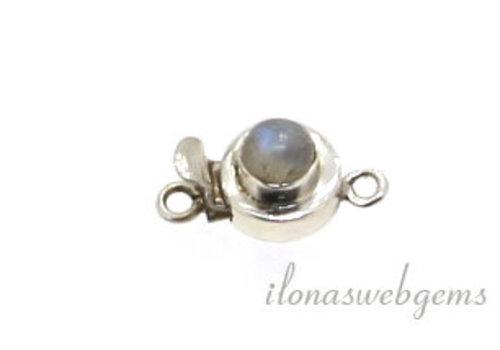 Sterling zilveren bakslotje met Regenboogmaansteen ca. 10mm