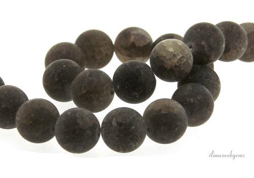 Rookkwarts crackle kralen rond ca. 12mm