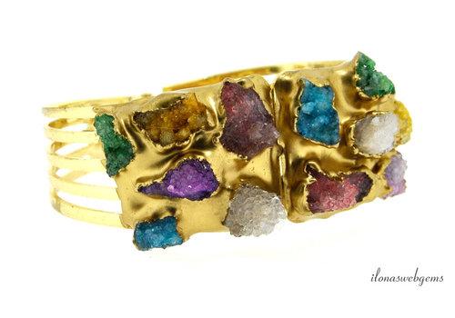 Gold plated armband Druzy Agaat ovaal ca. 6.5x5.5cm