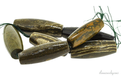 Achatperlen oliv ca. 60x22,5mm