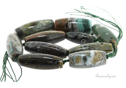 Agate beads green ascending and descending from approximately 30x12 to 40x18mm