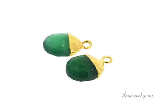 Gold plated pendant with green Onyx around 12x8mm