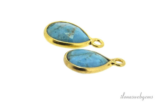 Gold plated pendant with turquoise around 13x8mm