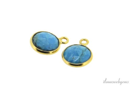 Gold plated pendant with Turquoise around 9.5mm