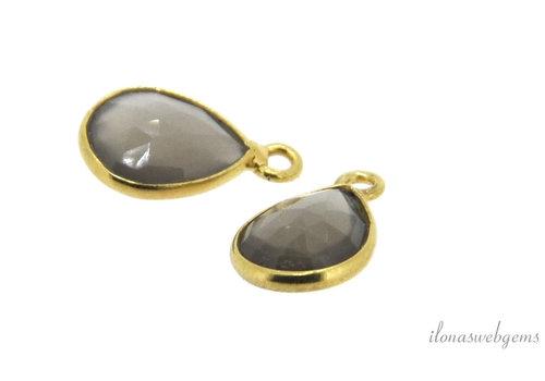 Minimalistic vermeil pendant with moonstone around 13x8mm