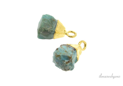 Gold plated pendant with apatite around 12x6.5mm
