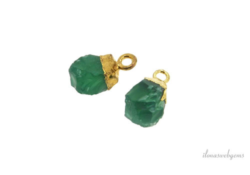 Gold plated pendant with green Onyx around 12x6mm
