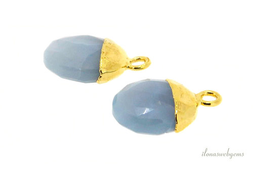 Gold plated pendant with Angelite around 12x8mm