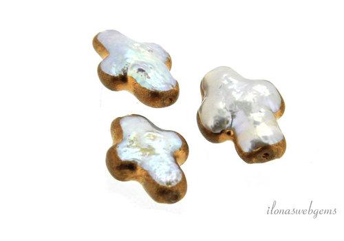 Biwa-Kreuz-Perle-vergoldet ca. 15x9x4,5mm