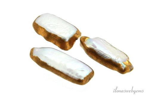 Biwa Kreuz Perle vergoldet ca.18x8x4.5mm