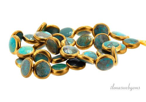 1x Arizona Turquoise Bead Münze um 11.5x4mm