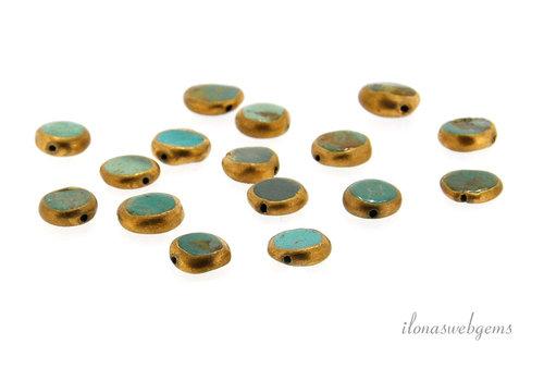 1x Arizona turkoois kraal coin ca. 10x3.5mm