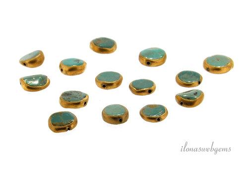 1x Arizona turkoois kraal coin ca. 11x4.5mm