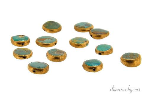 1x Arizona turquoise bead coin around 12x4mm