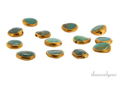 1x Arizona turquoise bead coin around 15x4.5mm